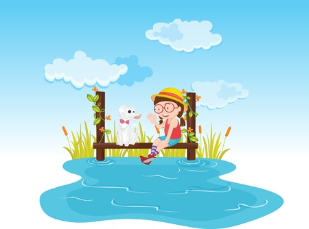 Girl sitting and talking to a dog on the water Illustration