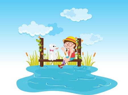 canne: Ragazza seduta e parlando con un cane sull'acqua