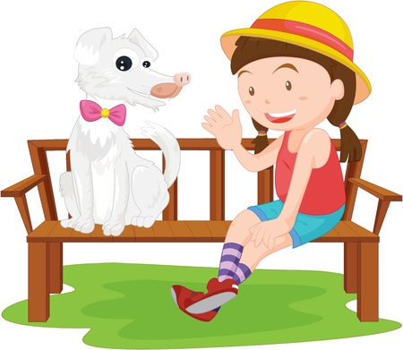 garden bench: illustration of girl sitting with dog on bench