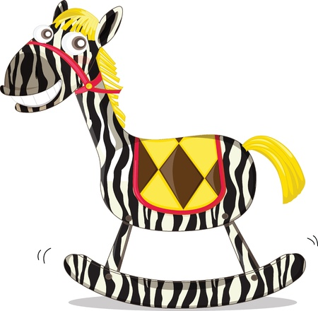 wooden horse: A rocking horse painted like a zebra Illustration