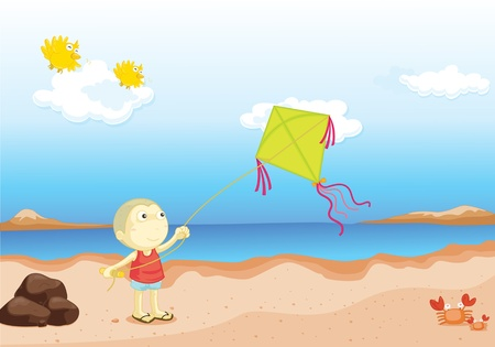beach side: Boy flying a kite near the water Illustration