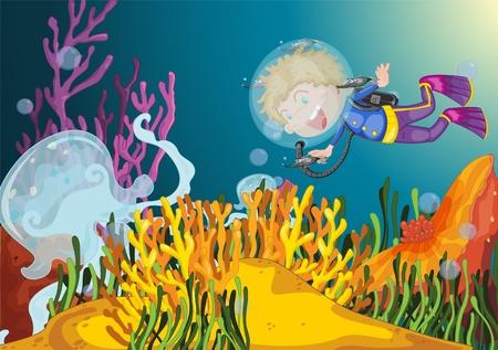 tank fish: Boy diving observes huge jellyfish