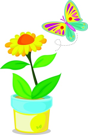 Colourful butterfly smiling to flower Vector