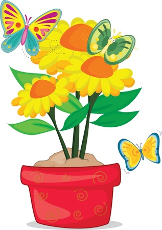 Three butterfly fight over three flowers Vector