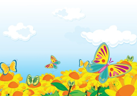Butterfly flit from flower to flower Vector
