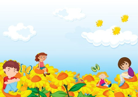 A few children sitting on flowers Vector