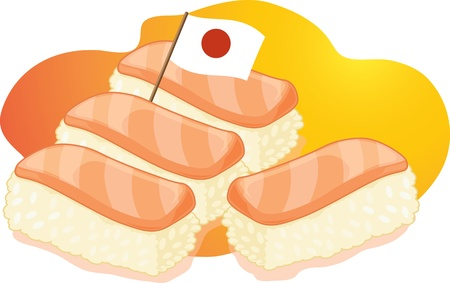 delicacy: Four sushi with toothpick flag