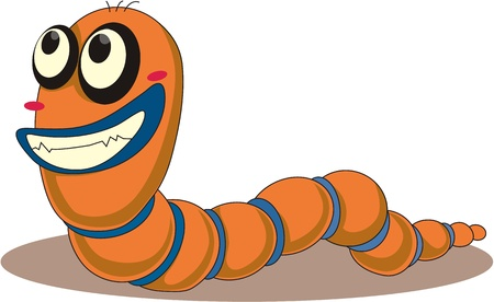Illustration of  a worm cartoon on white Vector
