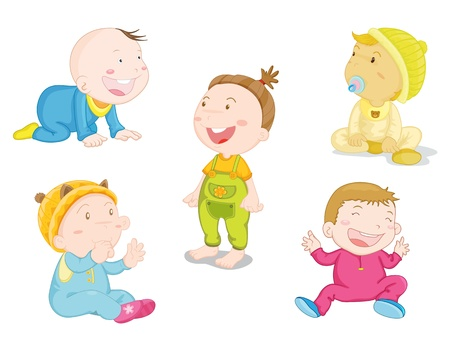 crawling: illustration of baby in differnt poses