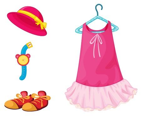ankleiden: Illustration der rosa Kleid auf wei�em