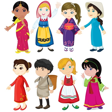 asian culture: illustrazione di donna su bianco
