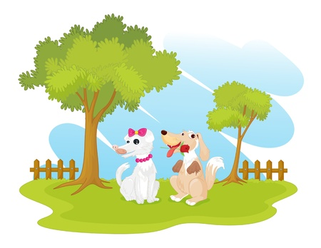 illustration of dogs in garden Vector