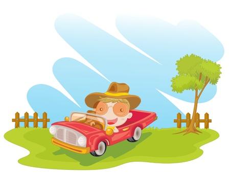 illustration of man in a car Vector