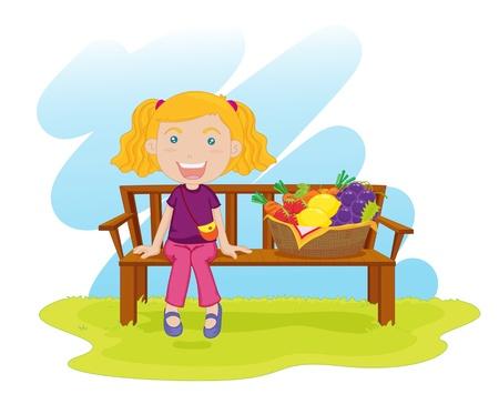 canasta de frutas: ilustraci�n de la ni�a sentada en el banco con canasta de frutas