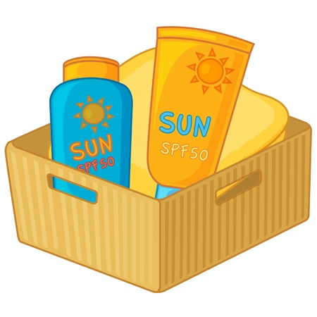 sun protection: Illustration of cometic bottles in a yellow box Illustration