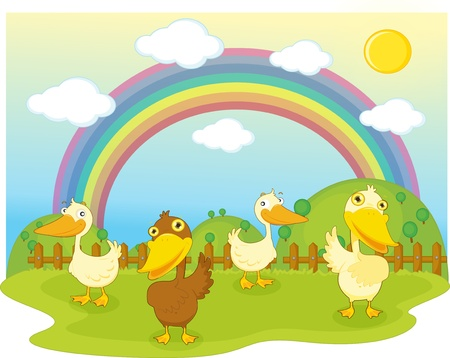 rainy season: illustration of duck on background of rainbow