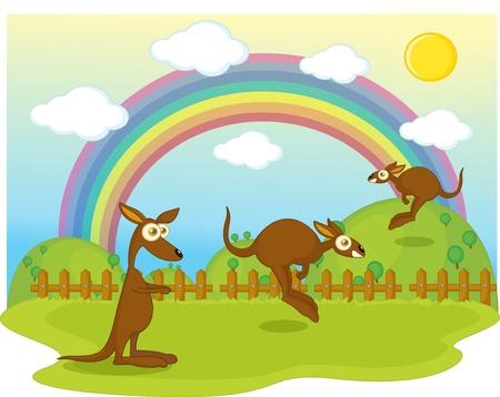 illustration of of duck on background of rainbow
