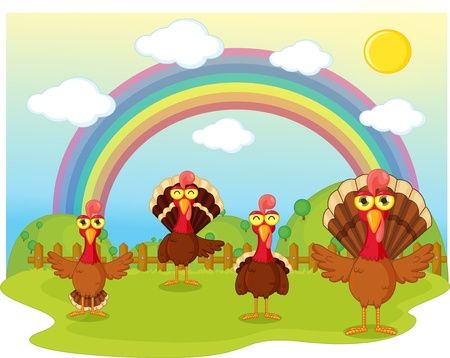 illustration of ostriches on background of rainbow  Vector