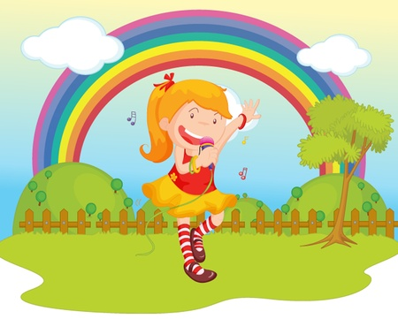illustration of girl singing on backgound of rainbow Stock Vector - 13190077