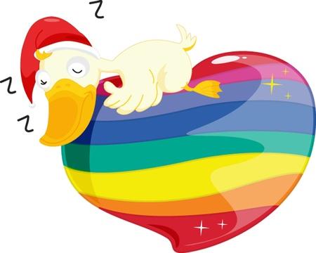 illustration de dormir sur le coeur de canard