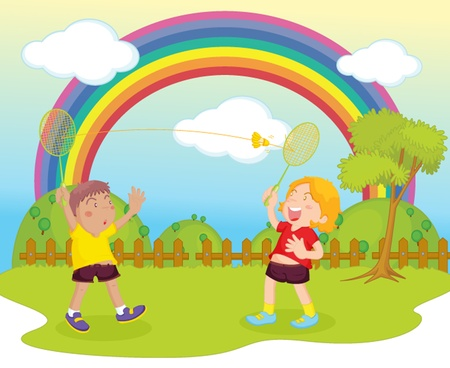 illustration of kids playing badminton  Vector