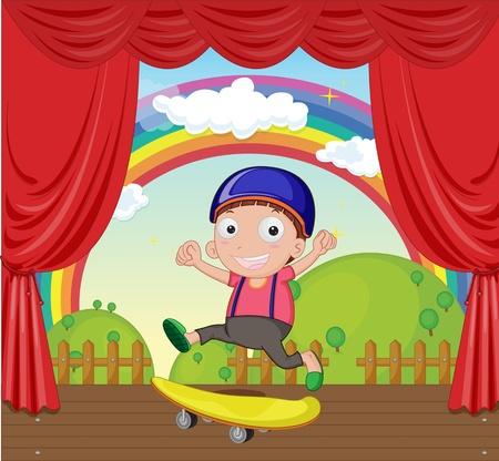 slide show: illustration of playing skates on stage