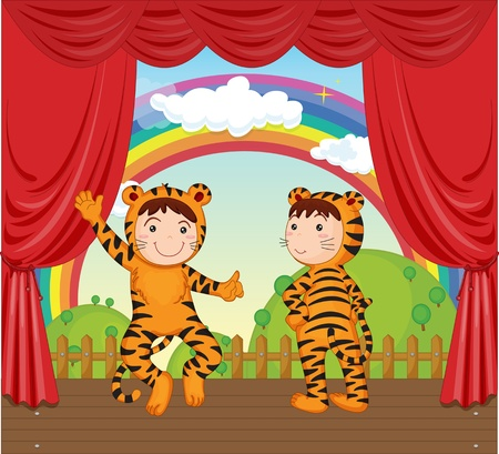 two child: illustration of kids on stage