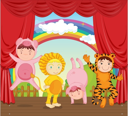 theatrical: illustration of kids in animal dressup Illustration