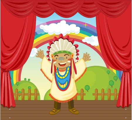 red indian: illustration of red indian man on stage