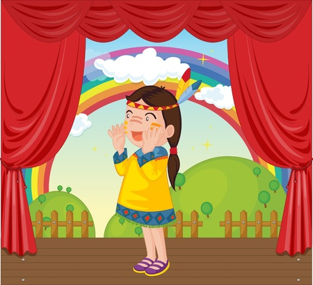Illustration of girl on stage Stock Vector - 13190068
