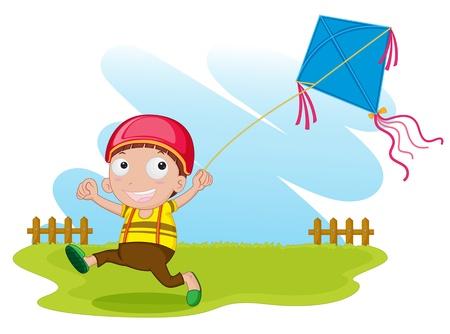 papalote: ilustración de un niño con cometa en blanco