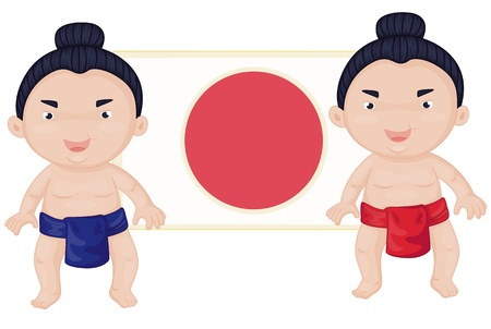 wrestlers: illustration of two sumo wrestlers
