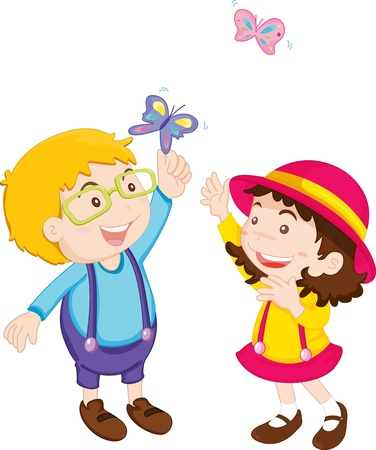 two children: Illustration of boy and girl playing with butterflies