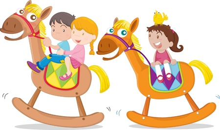 three children: Illustration of kids playing on toy-horse