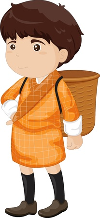 illustration of a boy wearing a basket Vector