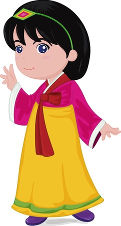 kids costume: illustration of japanese girl in traditional dress Illustration