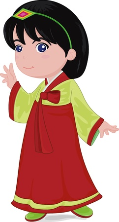 kids costume: illustration of japanese girl wearing traditional dress Illustration