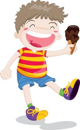 Illustration of boy with icecream in hand Illustration