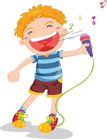 illustratie van het zingen jongen