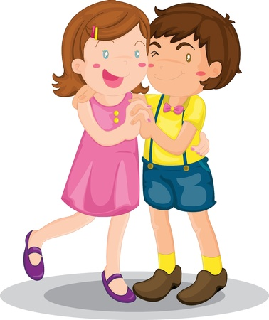 greet: Illustration of a boy and a girl