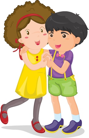 illustration of boy and girl on white Vector