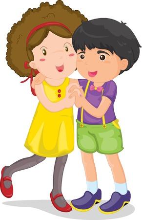 niños bailando: ilustración de niño y una niña sobre fondo blanco