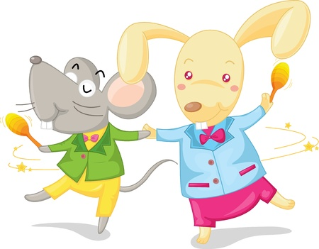 illustration of dancing mouse and rabbit Stock Vector - 13190285
