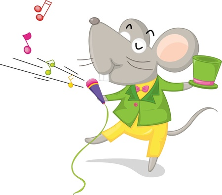 illustration of singing mouse on white Vector