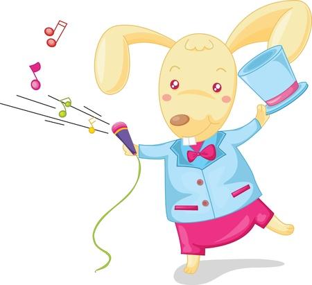 tanzen cartoon: Illustration des Singens auf weißem Kaninchen