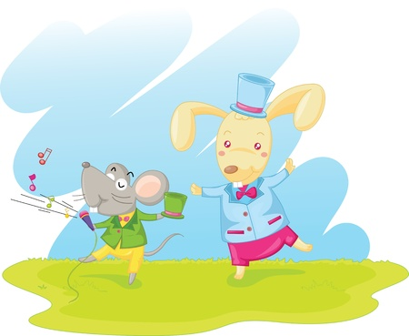 illustration of dancing mouse and rabbit Vector