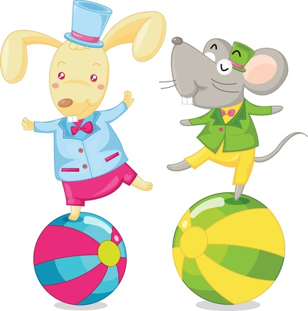 illustration of mouse dancing on ball Vector