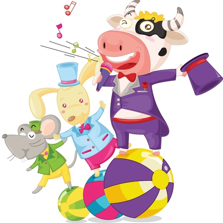 illustration of cow, mouse and rabbit on white Vector