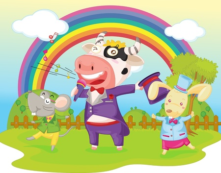 illustration of cow, mouse and rabbit on backgound of rainbow Vector
