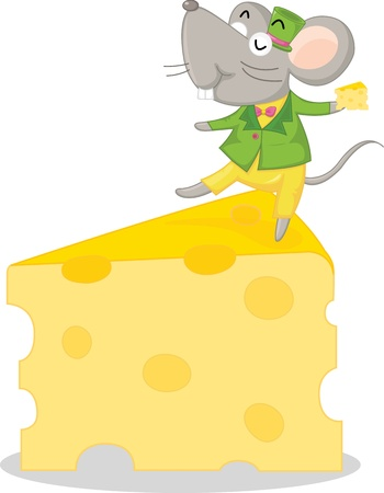 illustration of mouse sitting on cheese Vector